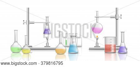 Scientific Equipment In A Chemical Laboratory With Medical Beakers.