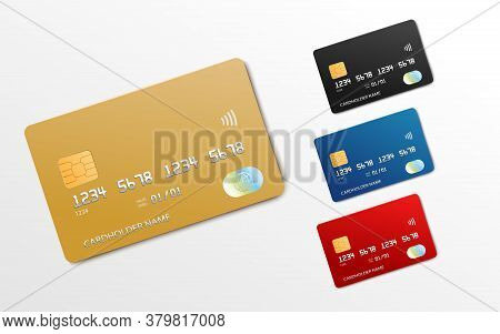 Bank Card Realistic Mockup Set - Gold, Black, Blue And Red Credit Or Debit Cards