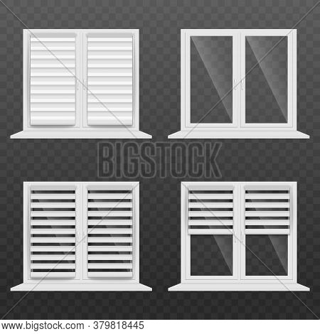 White Jalousie Window Blind Set - Realistic Glass Home Windows