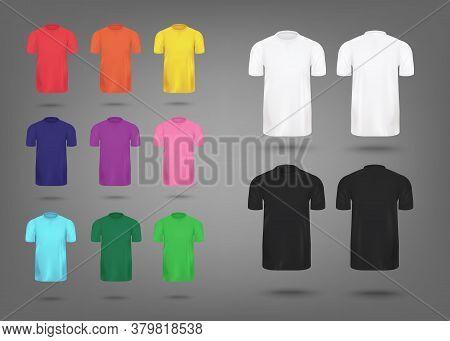 Colorful Realistic T-shirt Mockup Set - Mens Fashion Apparel Template