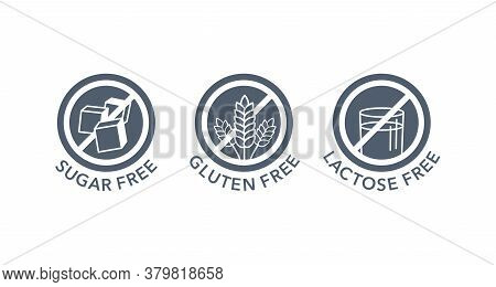Sugar Free, Gluten Free, Lactose Free Stamps Set - Vector Packaging Marking Tags - Food Cover Decora