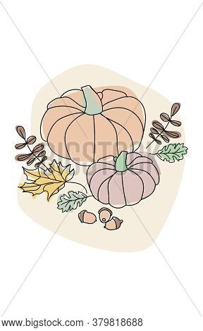 Autumn Composition In Merged Line Art. Pumpkins, Autumn Leaves And Acorns. Modern Hand-drawn Minimal