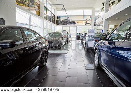 Petrozavodsk, Russia - June 19, 2019: Cars In Showroom Of Dealership Bmw In Petrozavodsk In Russia