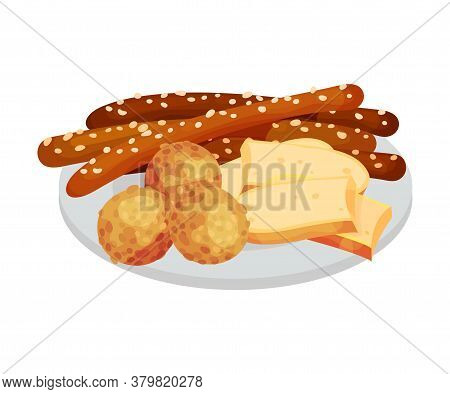 Festive Food For Oktoberfest Celebration With Wurst And Sliced Cheese Rested On Plate Vector Illustr