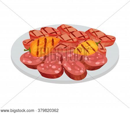 Sausage And Wurt Grilled Slabs Rested On Plate As Festive Food For Oktoberfest Celebration Vector Il