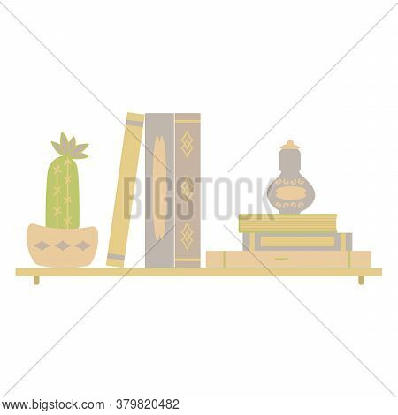 On The Shelf Are Books, A Potted Cactus In Bloom, And A Bottle Of Perfume. Flat Design, Vector Inter