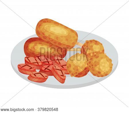Sausage Slabs And Meat Balls Rested On Plate As Festive Food For Oktoberfest Celebration Vector Illu