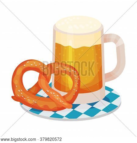 Beer Poured In Glass Mug Rested On Tray With Pretzel As Traditional Drink For Oktoberfest Celebratio