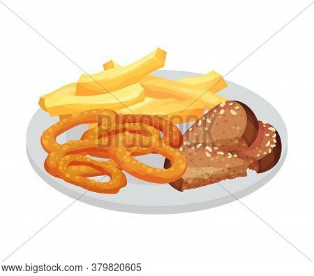 Crunchy Salted Rings And Bread Slices As Festive Food For Oktoberfest Celebration Vector Illustratio