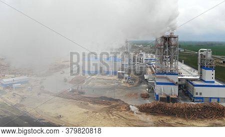 Industrial Smoke From Chimney. Air Pollution In The Atmosphere By Smoke From A Factory Chimney, Smok
