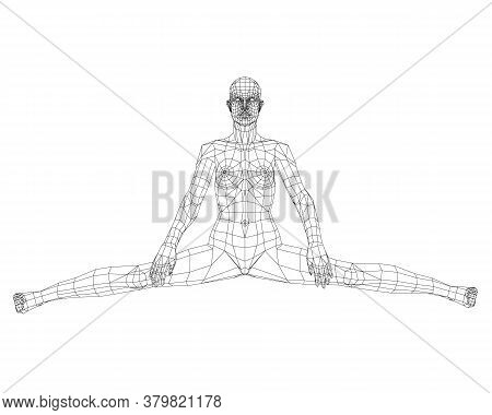 Low Poly Wireframe Of A Girl Sitting On A Twine. Front View. 3d. Vector Illustration
