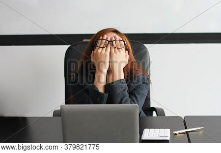 Concept Burnout Syndrome. Business Woman Feels Uncomfortable Working. Which Is Caused By Stress, Acc