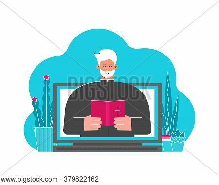Vector Flat Concept. Catholic Pastor (cartoon Character) Preaches Sermon People Staying Home. Priest