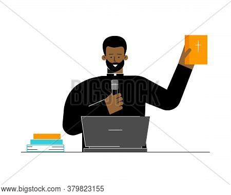 Vector Flat Concept. Catholic Pastor Is African American Man. He Preaches Sermon Using Online Confer