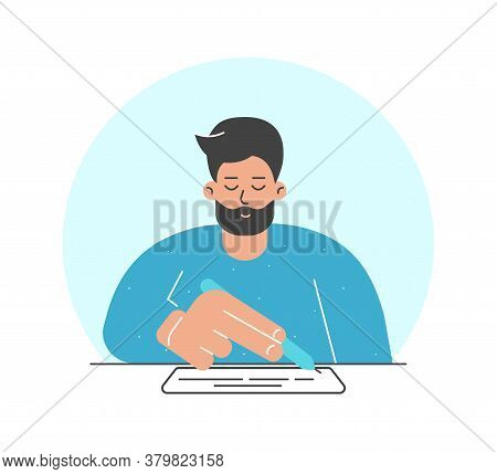 Vector Illustration Concept. Flat Cartoon Adult Man Sits At The Table, Holds Pen And Wrie Text On Wh