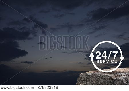 24 Hours Service Flat Icon On Rock Mountain Over Sunset Sky, Business Full Time Service Concept