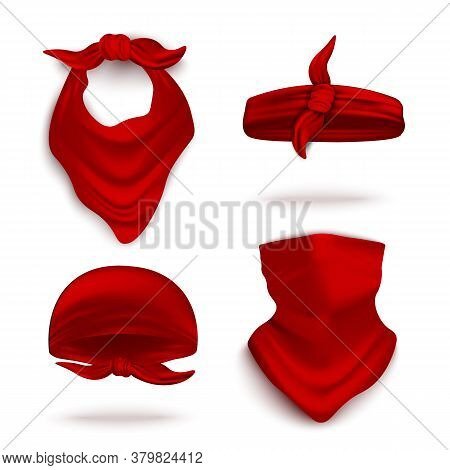 Red Bandana On Neck And Head Set, Realistic Vector Illustration Mockup Isolated.