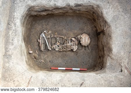 Archaeological Excavations. Human Remains, Bones Of Skeleton And Skulls Of 6 Year Old Child In The G
