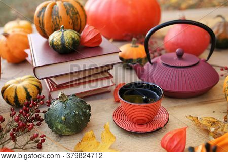 Thanksgiving Holiday. Cozy Autumn Tea Party. International Book Day. Writer's Day.cup With Tea, Red