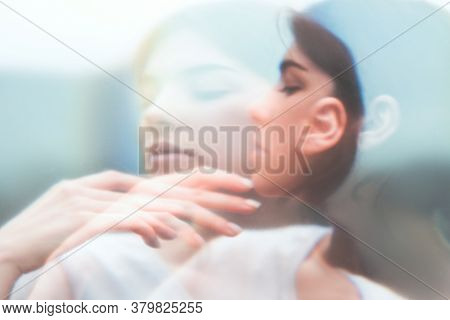 Art Portrait. Inner Peace. Surreal Sensual Woman Face Blur Silhouette Double Exposure. Feminine Frag