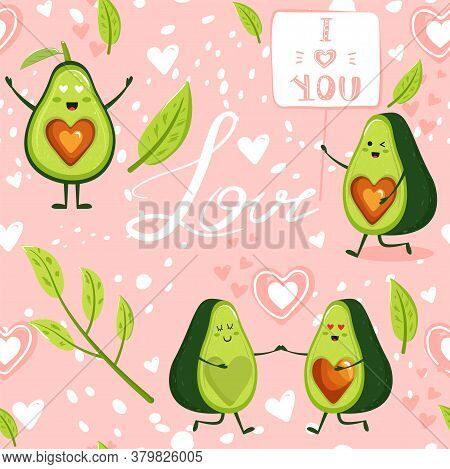 Contemporary Seamless Pattern With Cartoon Avocado Couple Character, Avocado In Love, Lettering, Lea