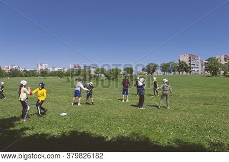 Saint Petersburg, Russia - June 12, 2020: Training Of Children Engaged In Martial Arts In The Park U