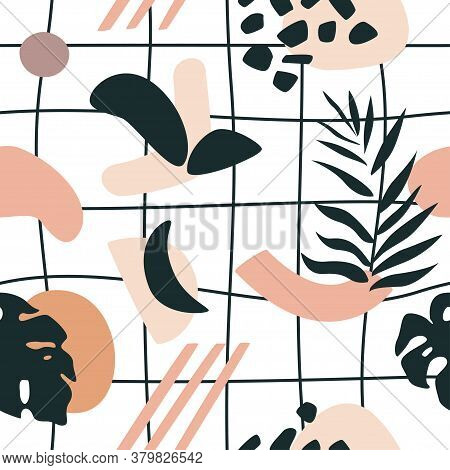 Tropical Seamless Pattern In Pink And Black Colors. Vector Scalable Design.