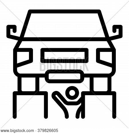 Auto Mechanic Fix Car Icon. Outline Auto Mechanic Fix Car Vector Icon For Web Design Isolated On Whi