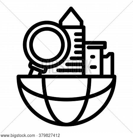 Global Search Restructuring Icon. Outline Global Search Restructuring Vector Icon For Web Design Iso