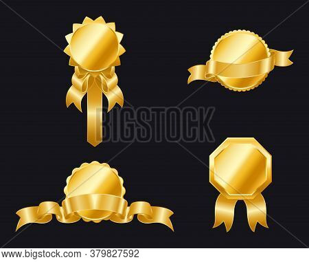 Set Of Golden Ribbons And Badges For Your Design. Golden Seal With Ribbons Isolated. Golden Labels