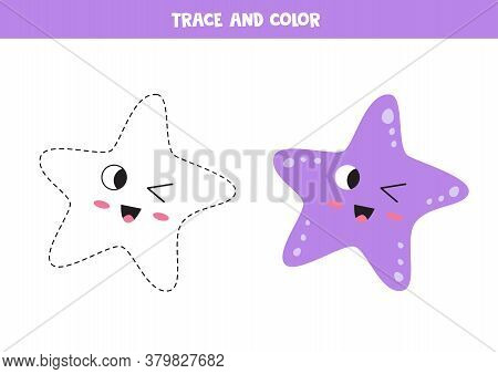 Trace Cute Kawaii Starfish. Coloring Page For Kids.