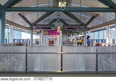 Bangkok, Thailand - July 02 2020: Escalator At Bangkok Skytrain (bts) Or The Metropolitan Rapid Tran