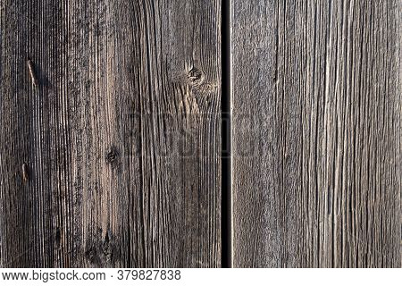 Two Untreated Vertical Wood Plank Boards Close Up. Natural Wood Texture For Background. Rusty Pins.