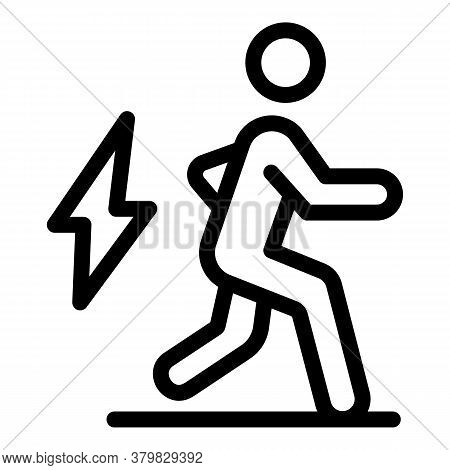 Running Man Icon. Outline Running Man Vector Icon For Web Design Isolated On White Background
