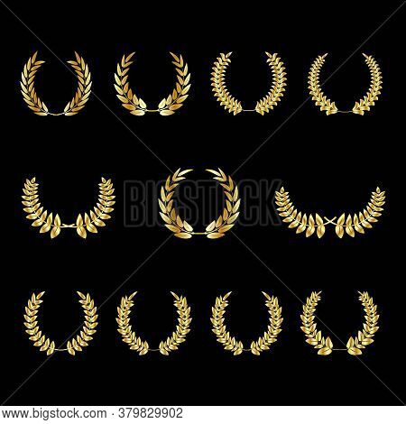 Set Of Gold Award Laurel Wreaths And Branches On Dark Background, Vector Illustration Depicting An A