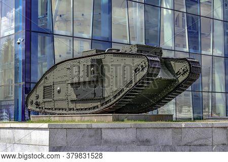 Kharkiv, Ukraine - July 20, 2020: Mark V Composite Tank On Constitution Square Against The Backgroun