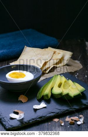 Egg With Crispy Toast Without Yeast And Avocado For Breakfast Or For A Healthy Snack
