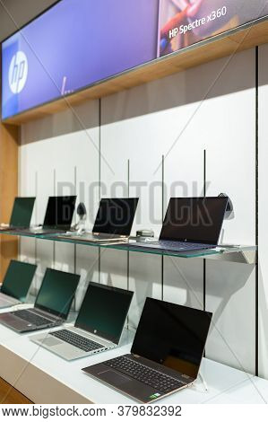 Belgrade, Serbia - May 28, 2020: New Hp Laptop Computers Are Shown On Retail Display In Electronic S