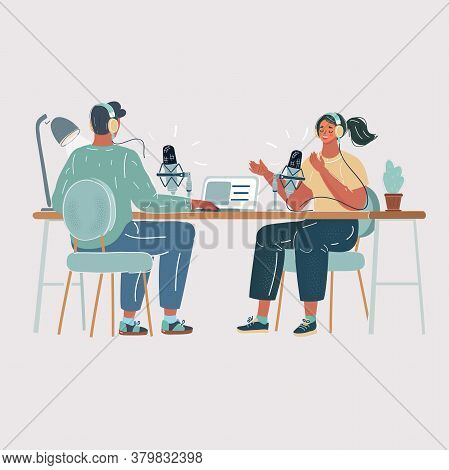 Vector Illustration Of Man Interviewing A Woman In A Radio Studio. Making Podcast Process. Air, Live