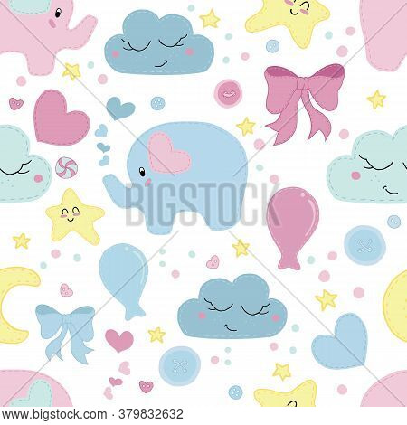 Vector Seamless Pattern, Cute Children's Embroidered With Decorative Stitching Elephants, Bows, Ball