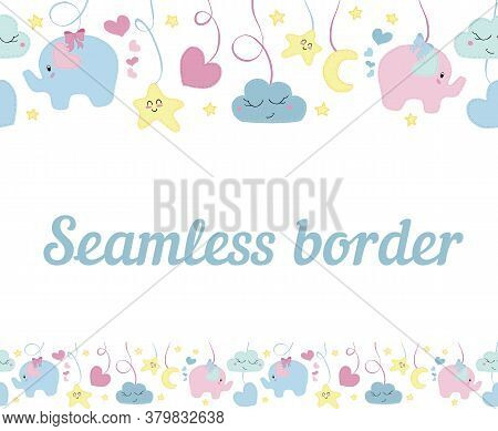 Vector Horizontal Border Seamless Pattern, Cute Children's Embroidered With Decorative Stitching Ele