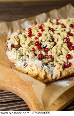 Homemade Pie With Berries. Red Currants, Black Currants, Gooseberries.