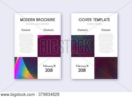Business Cover Design Template Set. Rainbow Abstract Lines On Wine Red Background. Astonishing Cover