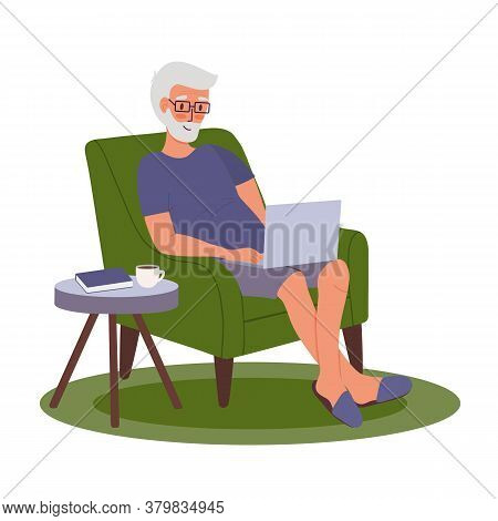Young Adult Man Works Remotely Home. Cartoon Freelancer With Laptop Is Sitting In Chair. Remote Work