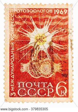 Ussr - Circa 1969: Postcard Printed In The Ussr Shows Third International Congress Protozoologists,