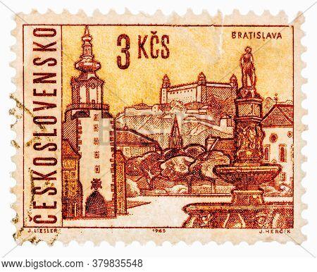 Ussr - Circa 1965: Postcard Printed In The Ussr Shows Illustration Czechoslovak City - Bratislava, C
