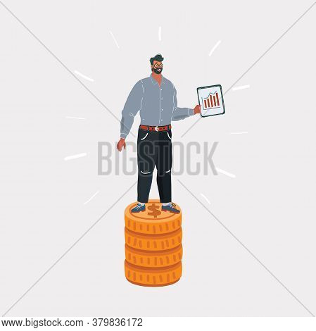 Vector Illustration Of Specialist, Man Standing On Stack Of Money. Wages Concept On White Isolated B