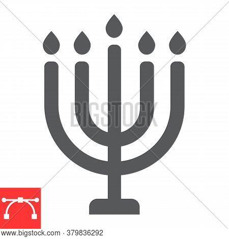 Big Menorah Glyph Icon, Rosh Hashanah And Candle, Menorah Sign Vector Graphics, Editable Stroke Soli