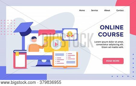 Online Course Concept Campaign For Web Website Home Homepage Landing Page Template Banner With Flat
