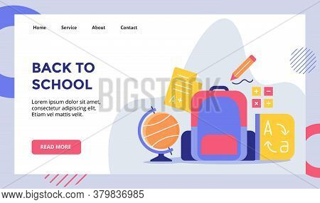 Back To School Concept Campaign For Web Website Home Homepage With Flat Style Vector Illustration De